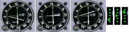 instruments showing the too high, on glideslope, and too low on both the Cessna glideslope indicator and the HSI from the Lear 45 in FS98